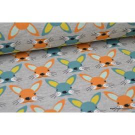 Tissu Jersey envers Minky imprimé lapins orange et turquoise fond gris