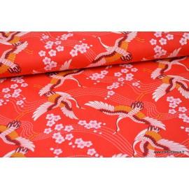 Popeline coton cygognes japonaise Rouge