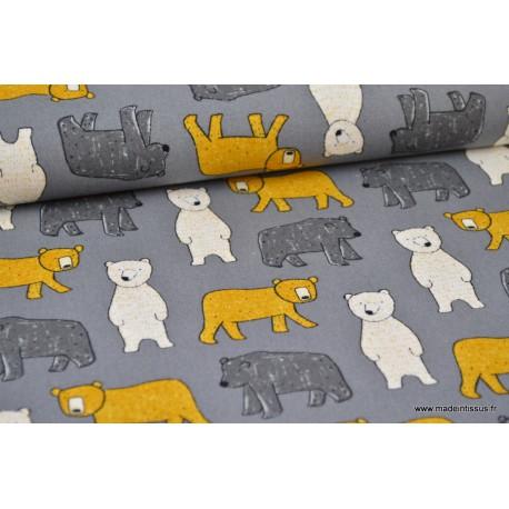 Tissu Popeline en coton gratté imprimé oursons jaune et écru sur fond gris