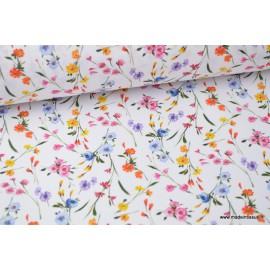Tissu popeline coton imprimé petites fleurs fond blanc