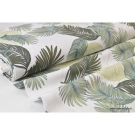 Tissu viscose fluide imprimé feuilles de palmes vertes