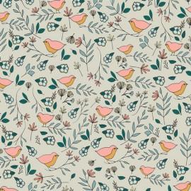 Popeline coton prenium imprimé oiseaux et fleurs by Art Gallery Fabrics .x1m