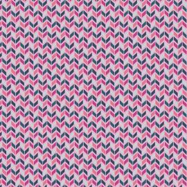 Tissu Popeline coton imprimé chevrons graphique Fuchsia collection Flower Child ART GALLERY DESIGNER .x1m