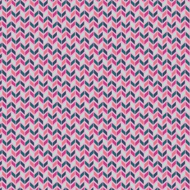 Tissu Popeline coton imprimé chevrons graphique Fuchsia collection Flower Child ART GALLERY DESIGNER .x1m