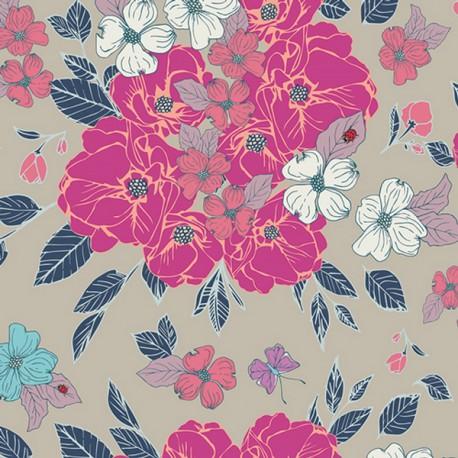 Popeline coton imprimé fleurs roses et bleues ART GALLERY DESIGNER  .x1m