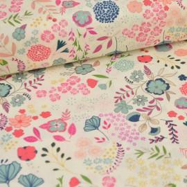 Popeline coton imprimé fleurs bleues collection Flower Child ART GALLERY DESIGNER  .x1m