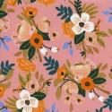 Tissu Viscose Rayon coton prenium imprimé Fleurs fond rose by Cotton and Steel collection Amalfi .x1m
