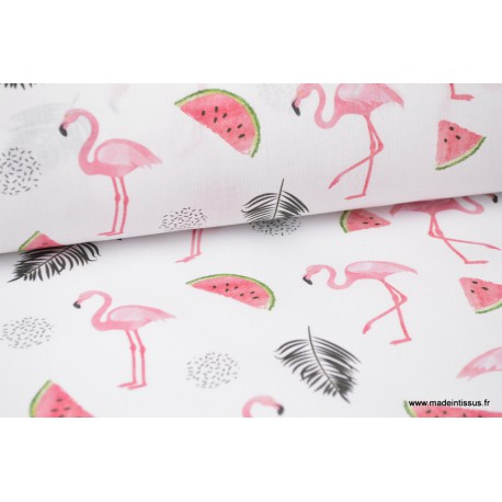 Tissu coton imprimé Flamants, feuilles de palmes et pastèques