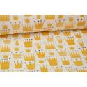 Tissu popeline coton imprimé couronnes jaunes