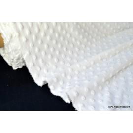 Tissu minky blanc pois x50cm