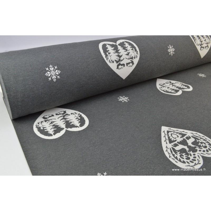 tissu jacquard ameublement dessin montagne coeurs blanc et gris. Black Bedroom Furniture Sets. Home Design Ideas