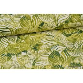 Tissu Canva coton imprimé Feuilles tropicales Vertes