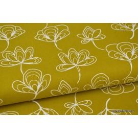 Tissu Canva coton imprimé Gingko biloba Moutarde