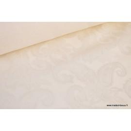 Tissu Jacquard dessin cachemire ivoire