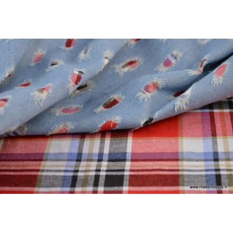 tissu jean trou bleu clair contrecoll d 39 un tissu cossais pour confection de pantalon et. Black Bedroom Furniture Sets. Home Design Ideas