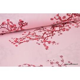 Popeline coton cerisiers japonais fond rose