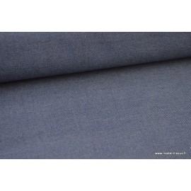 Tissu gabardine polyester viscose enduite étanche jean.
