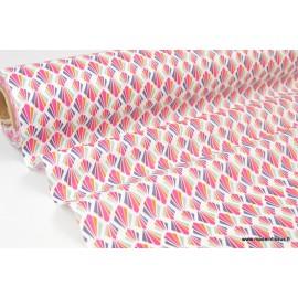 Tissu Coton enduit dessin géométriques fuchsia