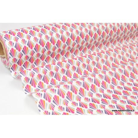 Coton enduit dessin géométriques fuchsia