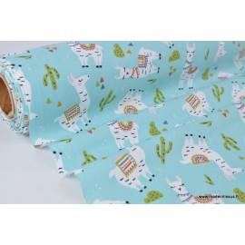 Tissu coton imprimé Lamas fond turquoise