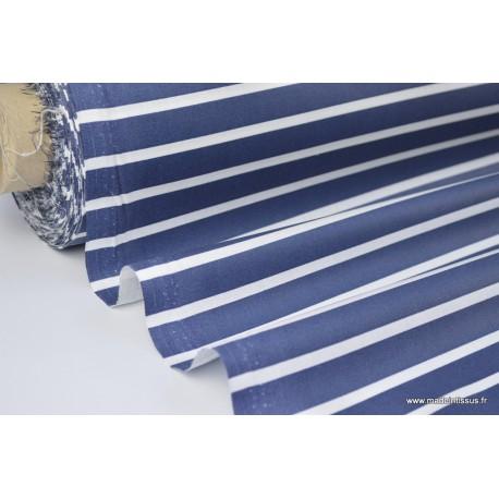 Tissu coton enduit rayures marine et blanc