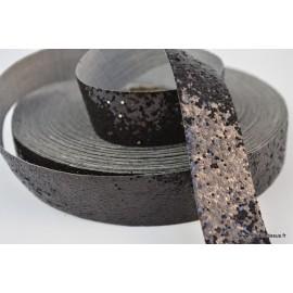 Galon Glitter à coudre 25 mm coloris Noir