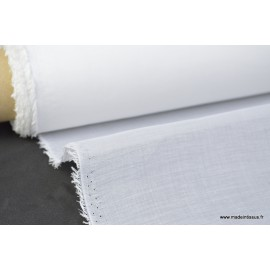 Voile organdi 100% coton blanc optique 155cm 55g/m²