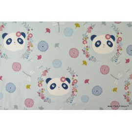Sweat leger frenchterry imprimé PANDA fond menthe .x1m