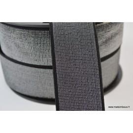 Elastique METAL Souple 40mm coloris Noir et lurex argent