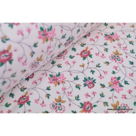 Tissu coton fleurs lierre rose fuchsia . x1m