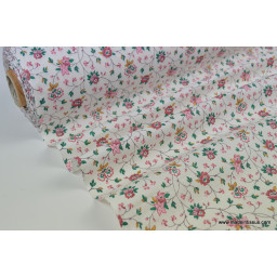 Tissu coton liberty fleurs lierre rose fuchsia
