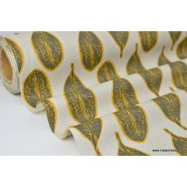 Tissu 100%coton imprimé ENDUIT wax feuilles moutarde et gris