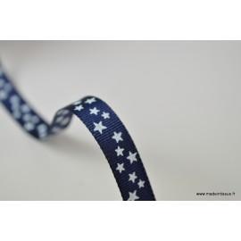 Tissu Ruban gros grain Marine étoiles blanches, 10 mm