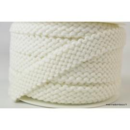 Elastique 20mm façon point mousse coloris Blanc