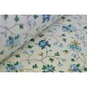 Tissu coton imprimé  fleurs lierre bleue . x1m