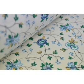Tissu coton fleurs lierre bleue . x1m