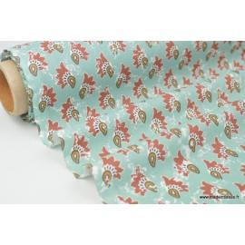 Tissu 100%coton imprimé graphique Khaha bleu et tomette  x1m