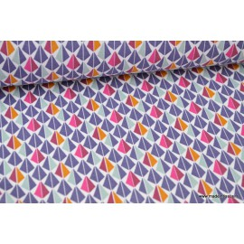 Tissu 100%coton imprimé graphique ODECA bleu et fuchsia  x1m