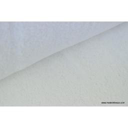 Tissu Eponge coton blanc lisiere cousue fermée au mètre