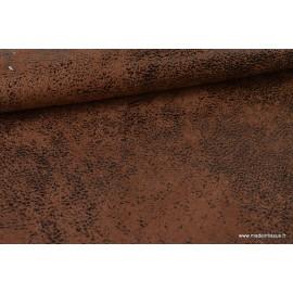 Tissu Faux cuir aspect vieilli marron