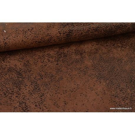 Faux cuir aspect vieilli marron