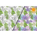 Tissu jersey Photosensible Feuilles de palmes et Flamants roses