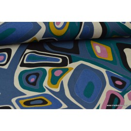 Tissu jersey Viscose imprimé psyché fond bleu