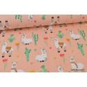 Tissu jersey imprimé Lamas, fleurs et Cactus Corail