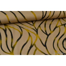 Tissu jersey Viscose imprimé ondulation jaune sur beige