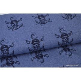 Tissu sweat leger frenchterry Oeko tex imprimé Pirates Bleu chiné et Noir .x1m