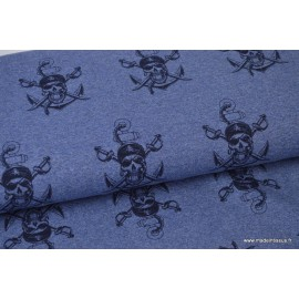 Tissu sweat leger frenchterry Oeko tex imprimé Pirates Bleu chiné et Noir .x1m