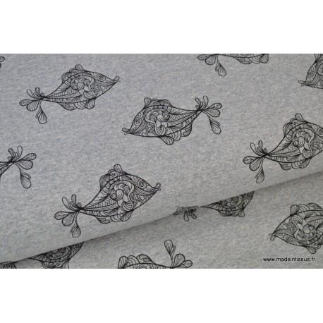 Tissu sweat leger frenchterry imprimé poissons Gris chiné et Noir .x1m