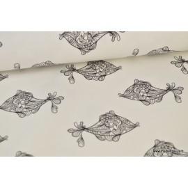 Tissu sweat leger frenchterry Oeko tex imprimé poissons noir et blanc .x1m