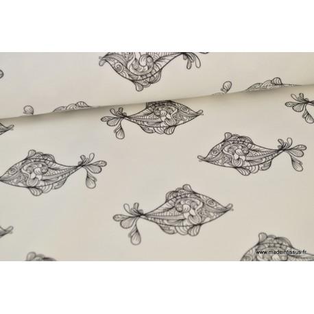 Tissu sweat leger frenchterry imprimé poissons noir et blanc .x1m